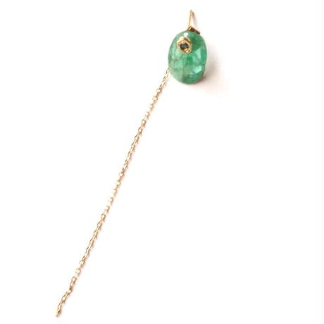 Emerald Flat Pierced Earring