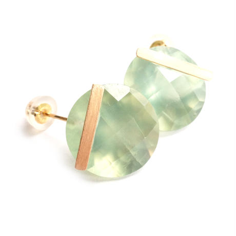 Prehnite Bar Pierced Earring