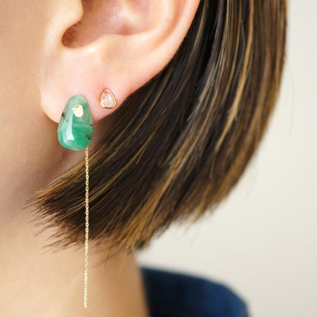 Green rutilated quartz Flat Pierced Earring