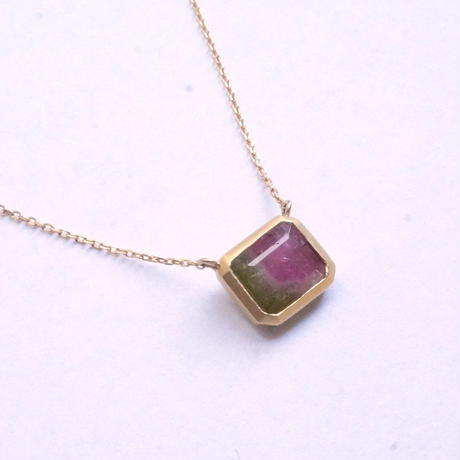 Bicolor Tourmaline Square Necklace