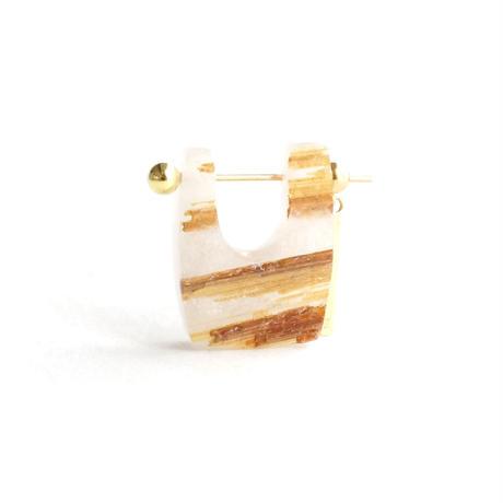 Gold rutiled quartz Rock Pierced Earring