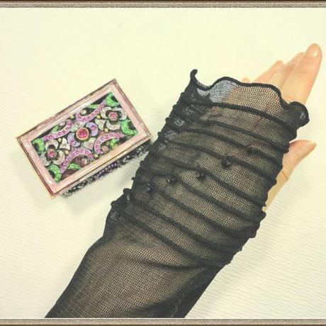 シルク Long 手袋 with スワロフスキー