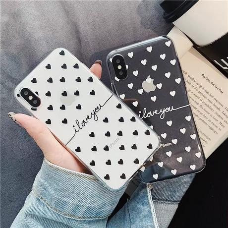 Black White Hearts Clear iPhone case