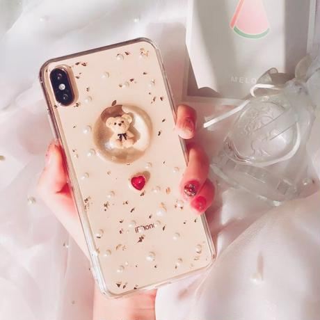 3D Bear with Red Heart& Pearl iPhone case
