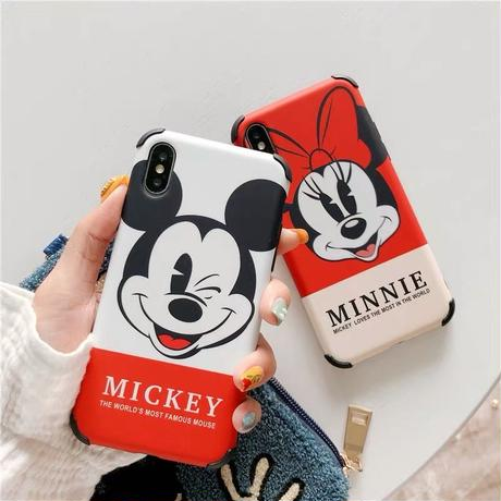 【Disney】Red White Mickey&Minnie iPhone case