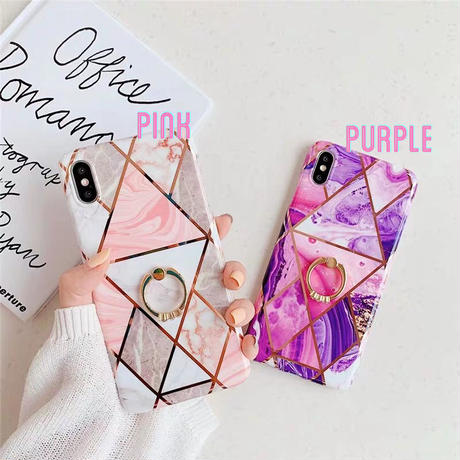 Purple Pink Marble with Jewel Ring iPhone case
