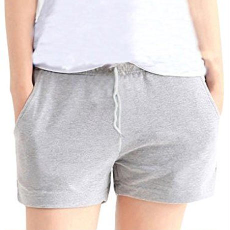 MONFUTUR(モンフチュール) パンツ 履き心地 快適 ウエストゴム スウェット 短パン レディース ライトグレー