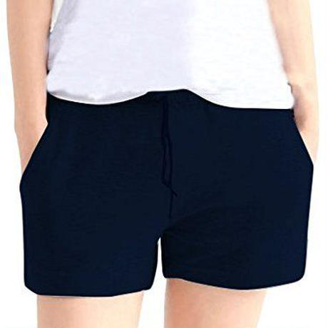 MONFUTUR(モンフチュール) パンツ 履き心地 快適 ウエストゴム スウェット 短パン レディース ネイビー