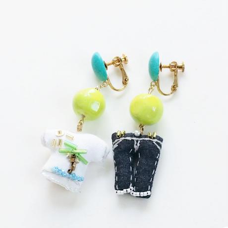 T-shirt(island) × Jeans Earrings