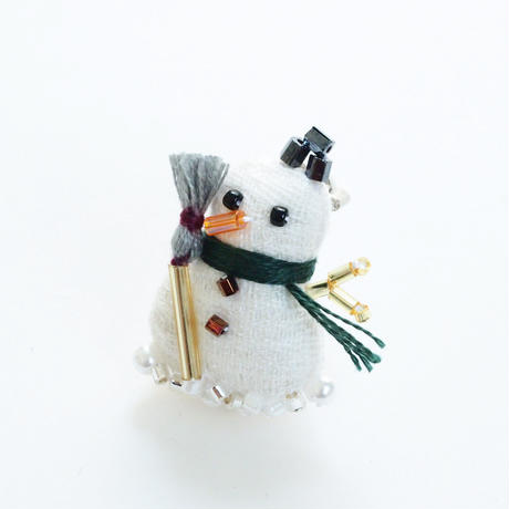 Miniature Snowman Brooch