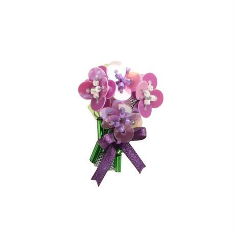 Miniature Bouquet Brooch (purple)