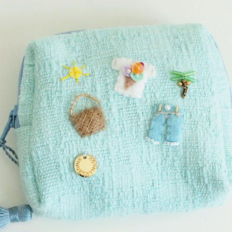 Miniature Pouch(blue tweed)