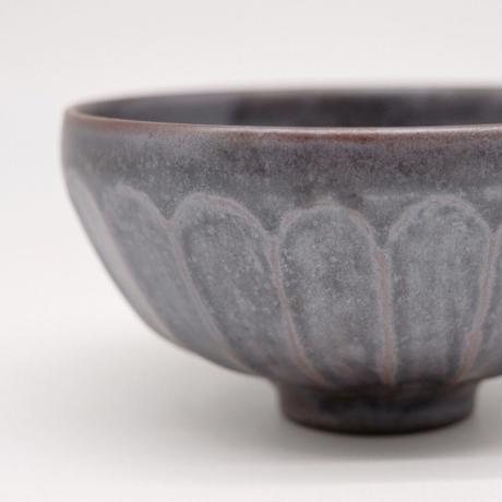 比地岡 陽子 / 銀彩釉 面取飯碗 (実物写真606)