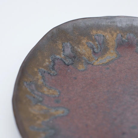 比地岡 陽子 / 金彩釉・楕円皿 (実物写真691)