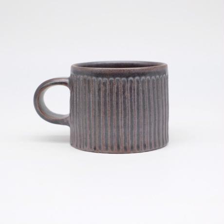 比地岡 陽子 / 銀彩釉 台形しのぎマグカップ (実物写真585)