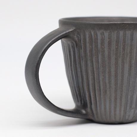 鈴木 進 / 黒釉しのぎマグカップ(実物写真521)