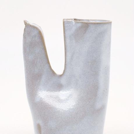 teto ceramic  / 鳥の一輪挿し・白透明釉薬 (実物写真951)