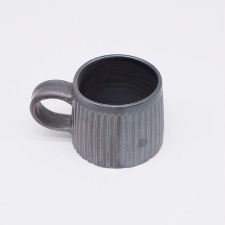 比地岡 陽子 / 銀彩釉 台形しのぎマグカップ (実物写真206)