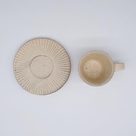 鈴木 進 / 粉引線紋カップ&ソーサー(実物写真502)