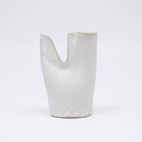 teto ceramic / 鳥の一輪挿し・白マット(実物写真805)