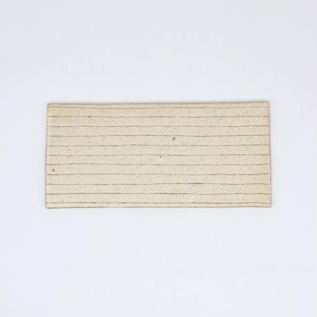 鈴木 進 / 粉引線紋板皿・長方形(実物写真738)