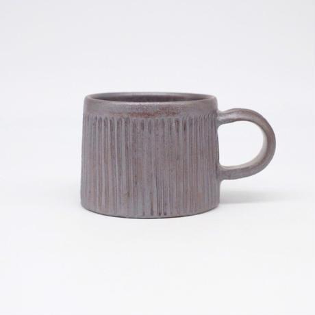 比地岡 陽子 / 銀彩釉 台形しのぎマグカップ (実物写真1078)
