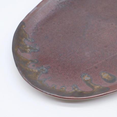 比地岡 陽子 / 金彩釉・楕円皿 (実物写真704)