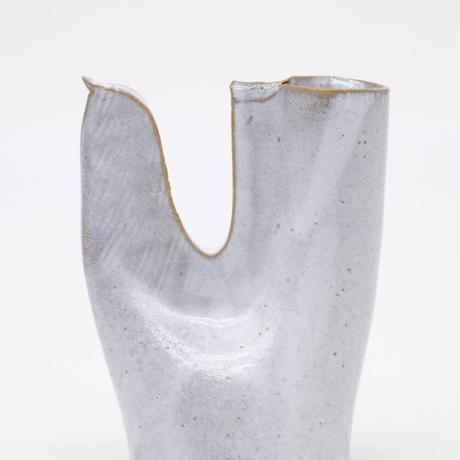 teto ceramic / 鳥の一輪挿し・白透明釉薬(実物写真797)
