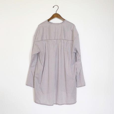 homspun / ギンガム スタンドカラー プルオーバーシャツ (グレー)