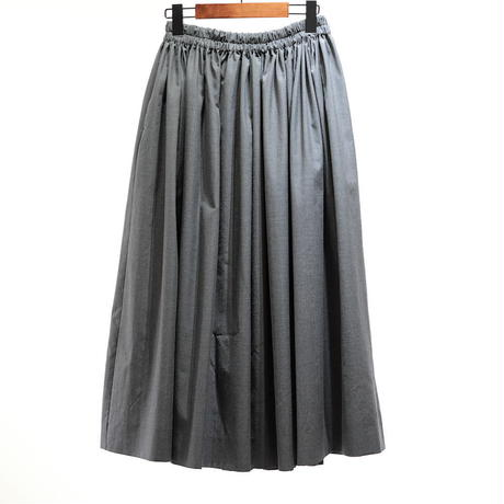 homspun ウールポプリンギャザースカート・ミディアムグレー