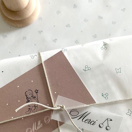 【ゆうパック】 10枚 ★ wrapping paper A3  petit cerise&papillon