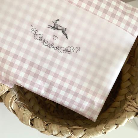 【ゆうパック】 100枚 ★ wrapping paper A3 carreaux rose