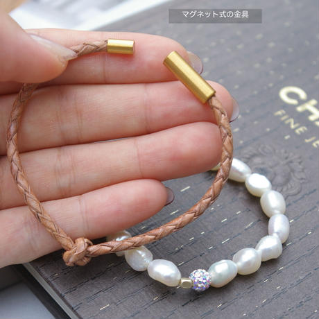 leather and pearl ピンクベージュ