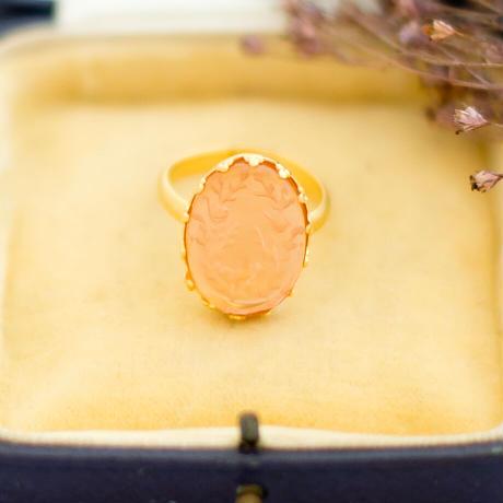 ヴィンテージアクセサリーパーツ レミース ことりと薔薇のリング ロザリン