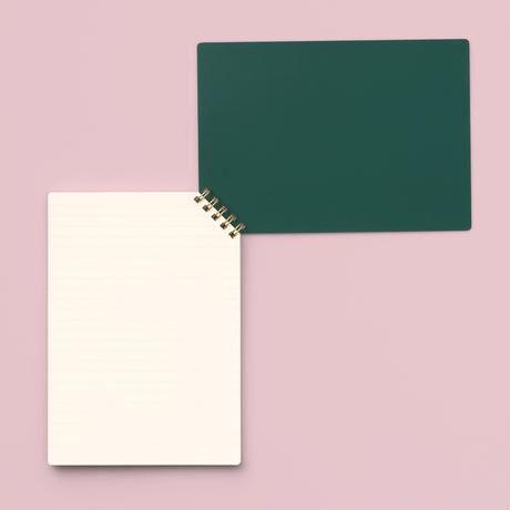 印刷加工連|ななめリングノート 緑/罫線
