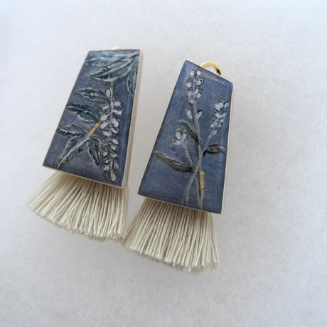 mikimichimasa - 山野草図 - 紫 tassel earring ET-2