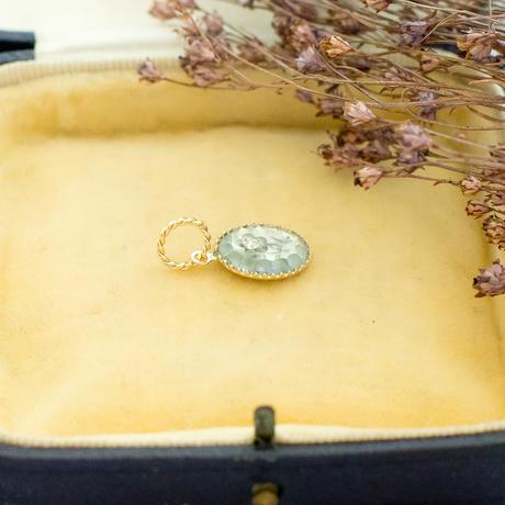 ヴィンテージアクセサリーパーツ レミース|ブルーグレーのお花のペンダント