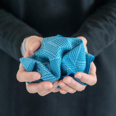 十布|福島の刺子織 ハンカチ ブルー