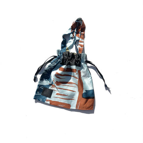 【6月号掲載分】YUMI YOSHIMOTO| ハンドプリント巾着バッグ(S)Blue-1