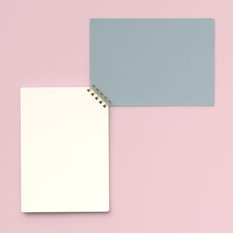 印刷加工連|ななめリングノート グレー/ドット方眼
