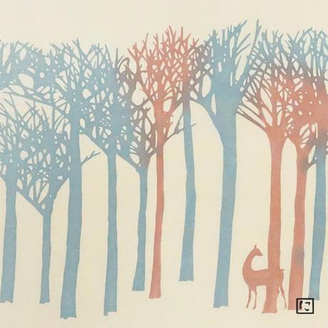 注染手ぬぐいにじゆら|森のいろ 青