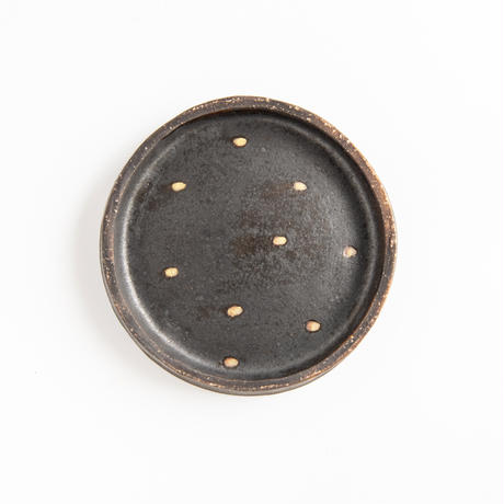 acne pottery studio 14黒釉の流し掛け皿(大)