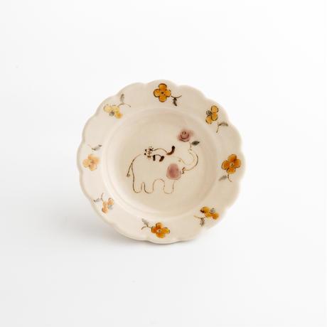 すずきあきこ 6.花型豆皿 花と猫シリーズ