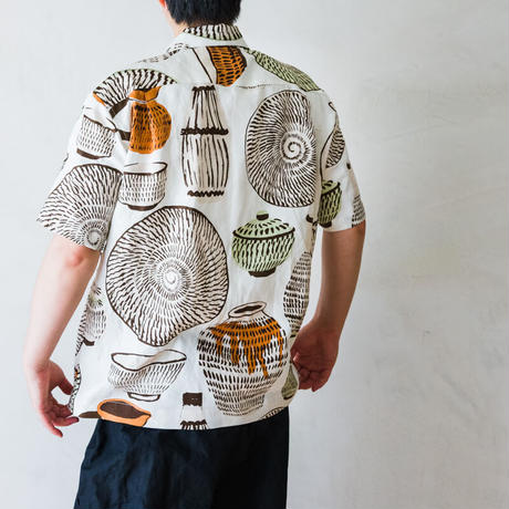 TANSU x gochisou オープンカラーシャツ/小鹿田焼