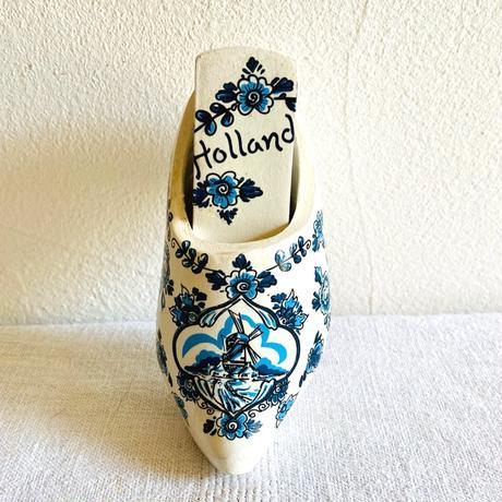 houti|オランダ 壁掛け木靴とブラシのセット