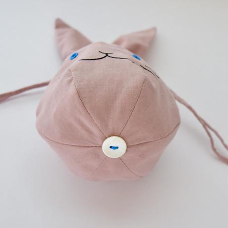 【7月号掲載分】相原暦 ウサ巾着ハンカチセット(ピンク)
