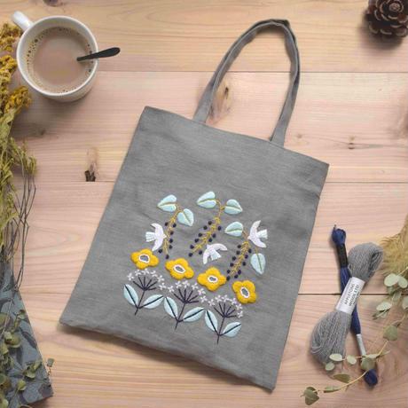 北欧てしごと教室 ウール刺繍 森と小鳥のトートバック 刺繍キット