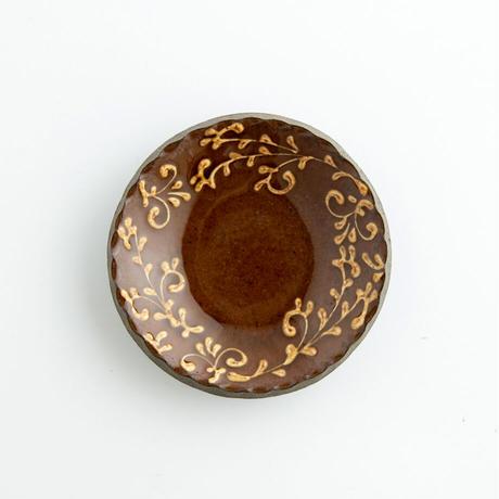 久保田健司|13豆皿 唐草 茶