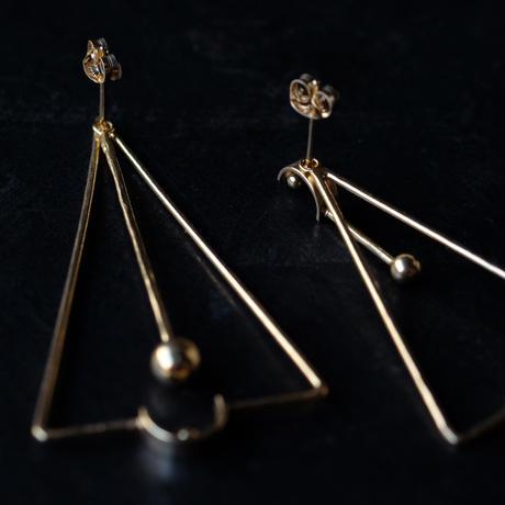 SUNn・寸|線と三角のピアス(gold)
