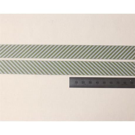 レピヤンリボン リース/ライト グリーン×ボーダー/ブルー グレー21mm セット( 各1m)